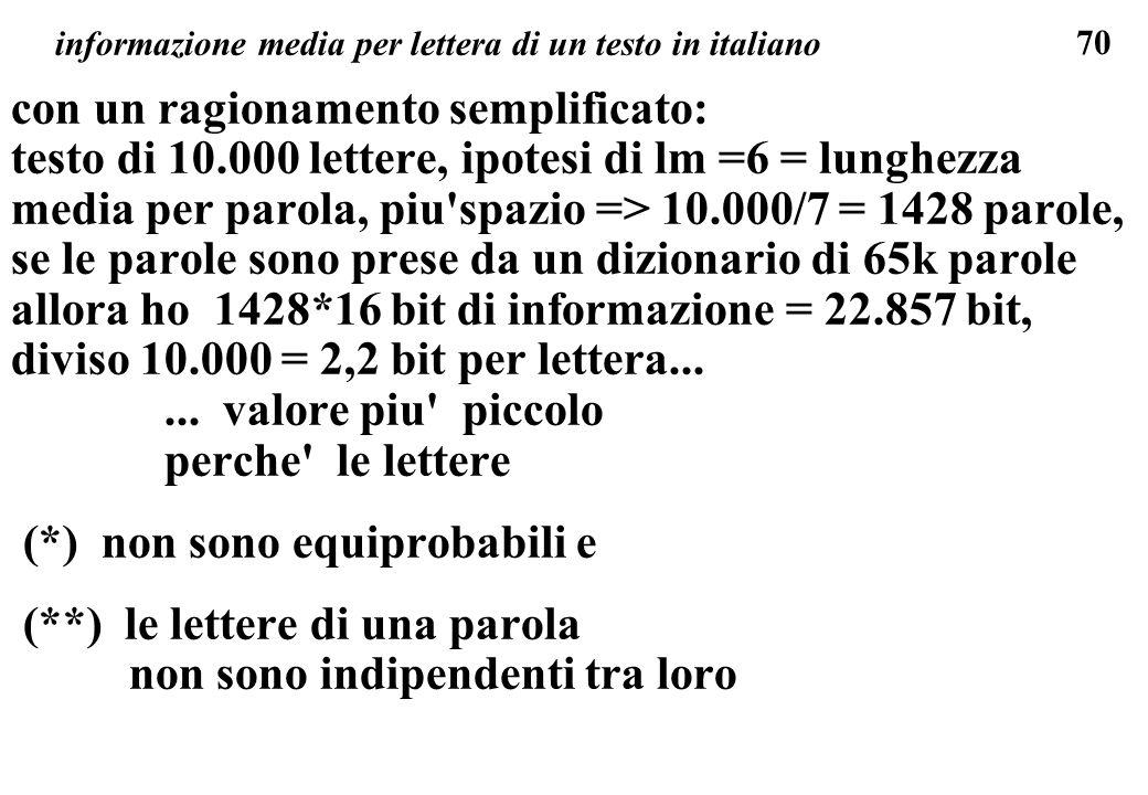 informazione media per lettera di un testo in italiano