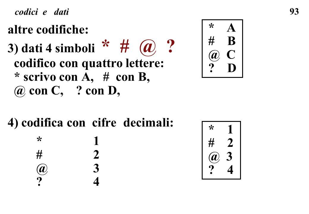 codifico con quattro lettere: * scrivo con A, # con B,