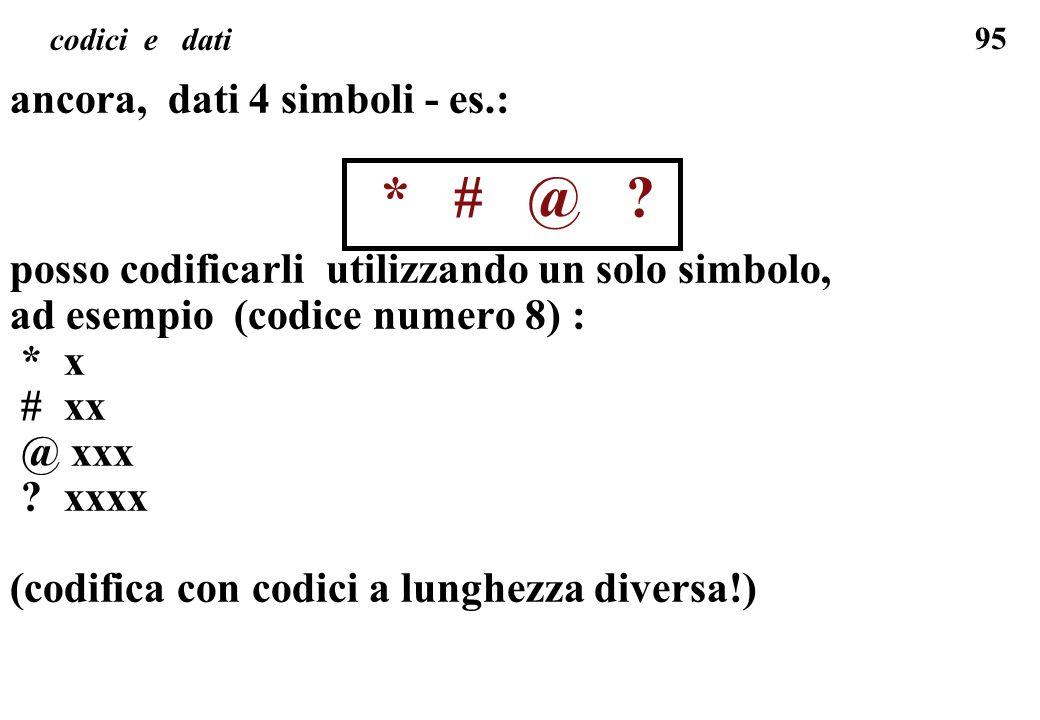 ancora, dati 4 simboli - es.: * # @