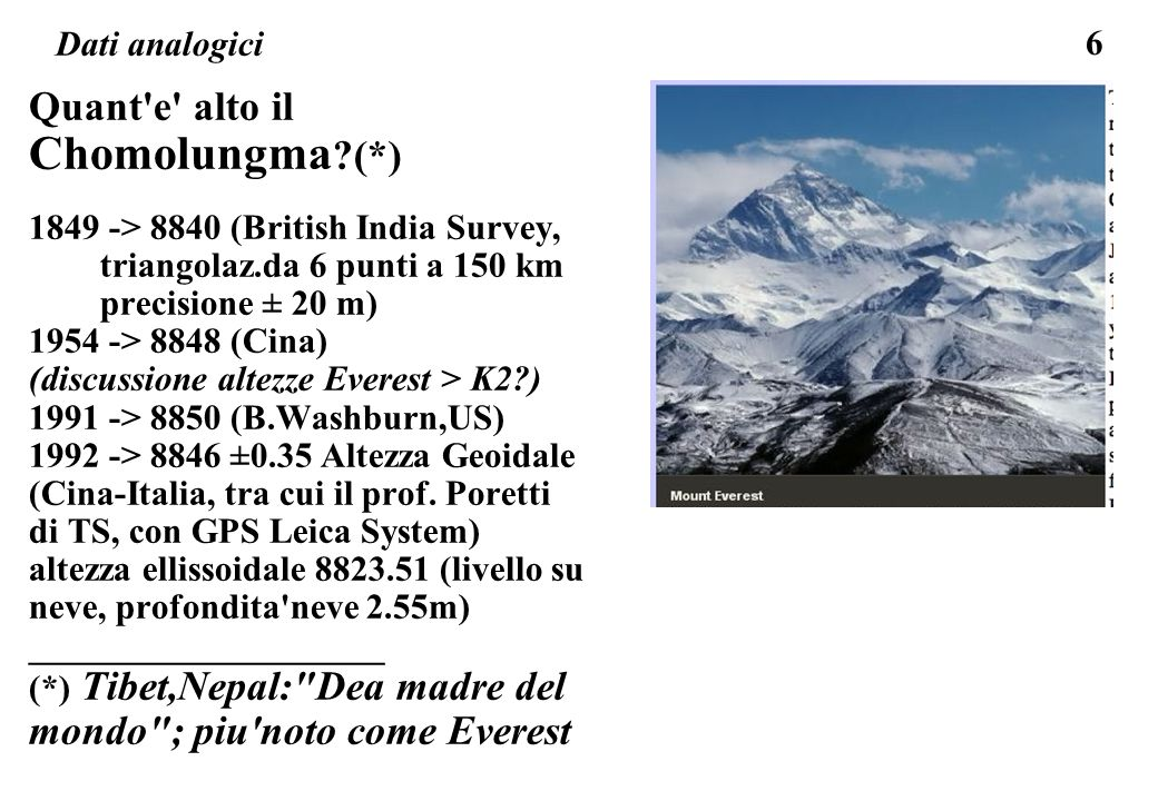 Quant e alto il Chomolungma (*)