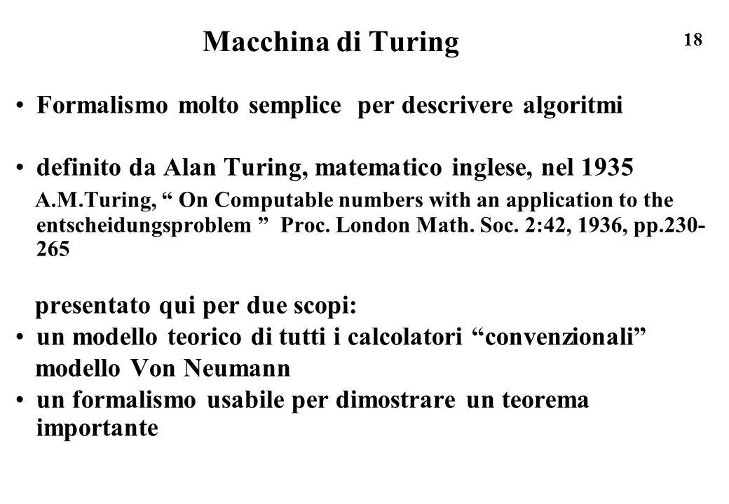 Macchina di Turing Formalismo molto semplice per descrivere algoritmi