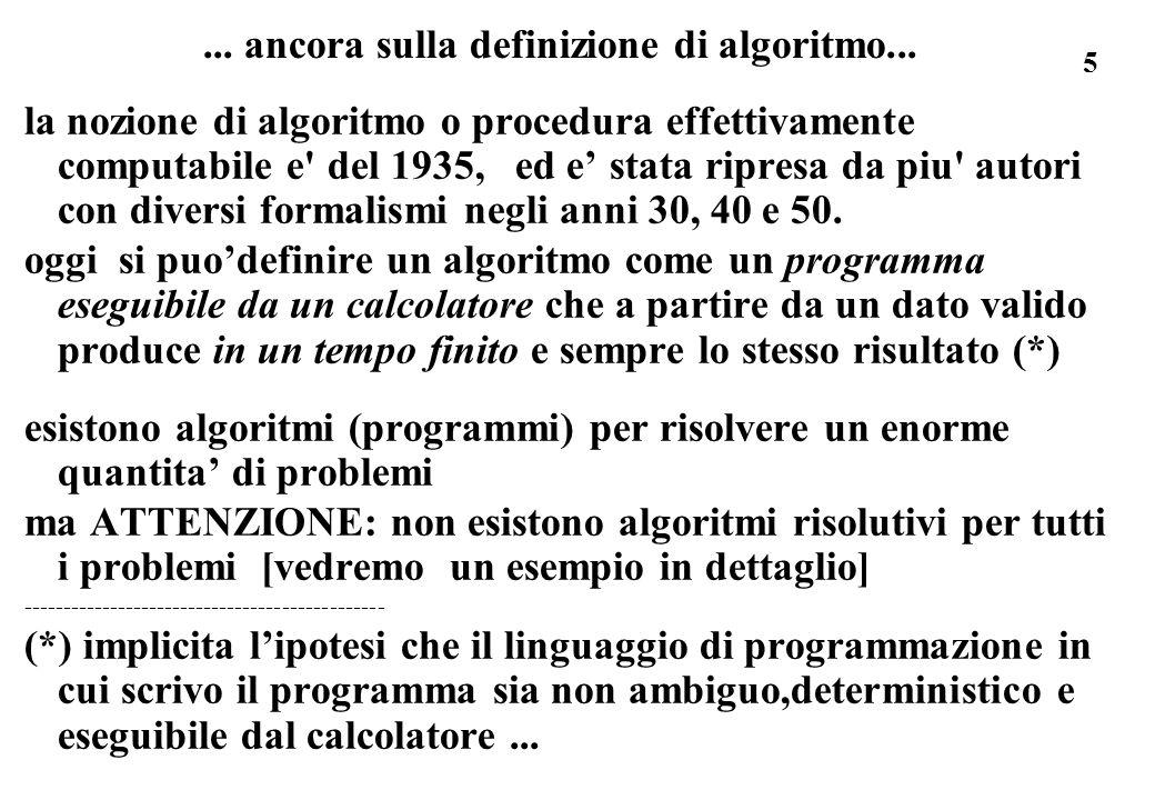 ... ancora sulla definizione di algoritmo...