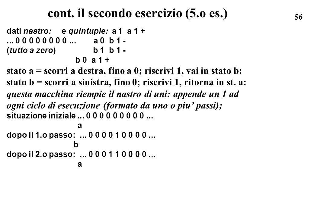 cont. il secondo esercizio (5.o es.)