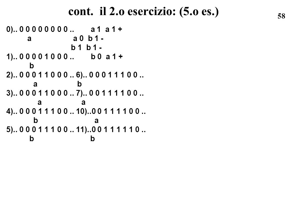 cont. il 2.o esercizio: (5.o es.)