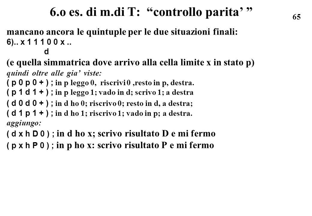 6.o es. di m.di T: controllo parita'