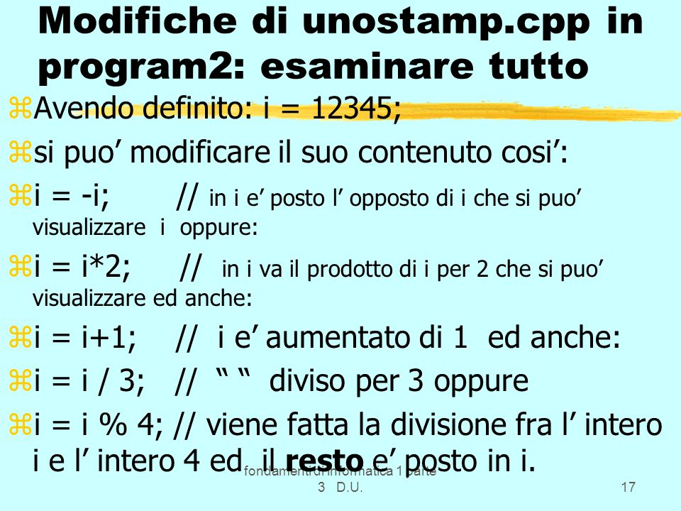 Modifiche di unostamp.cpp in program2: esaminare tutto