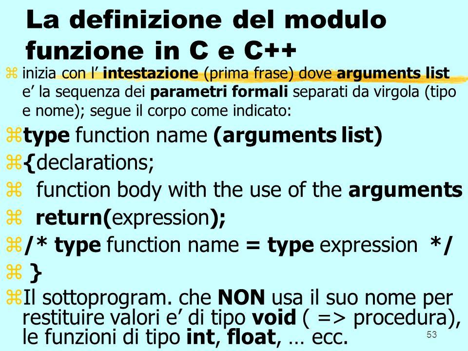 La definizione del modulo funzione in C e C++