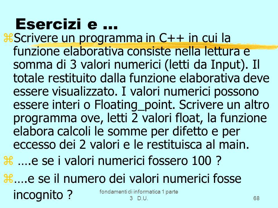 fondamenti di informatica 1 parte 3 D.U.