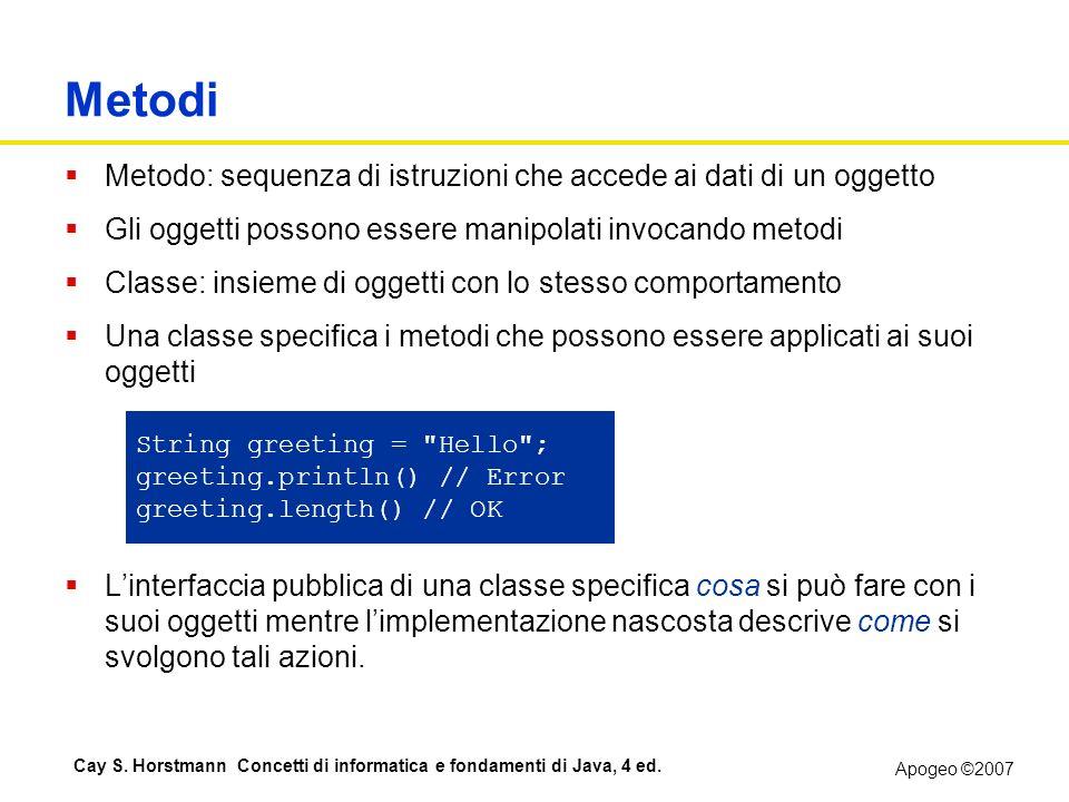 Metodi Metodo: sequenza di istruzioni che accede ai dati di un oggetto