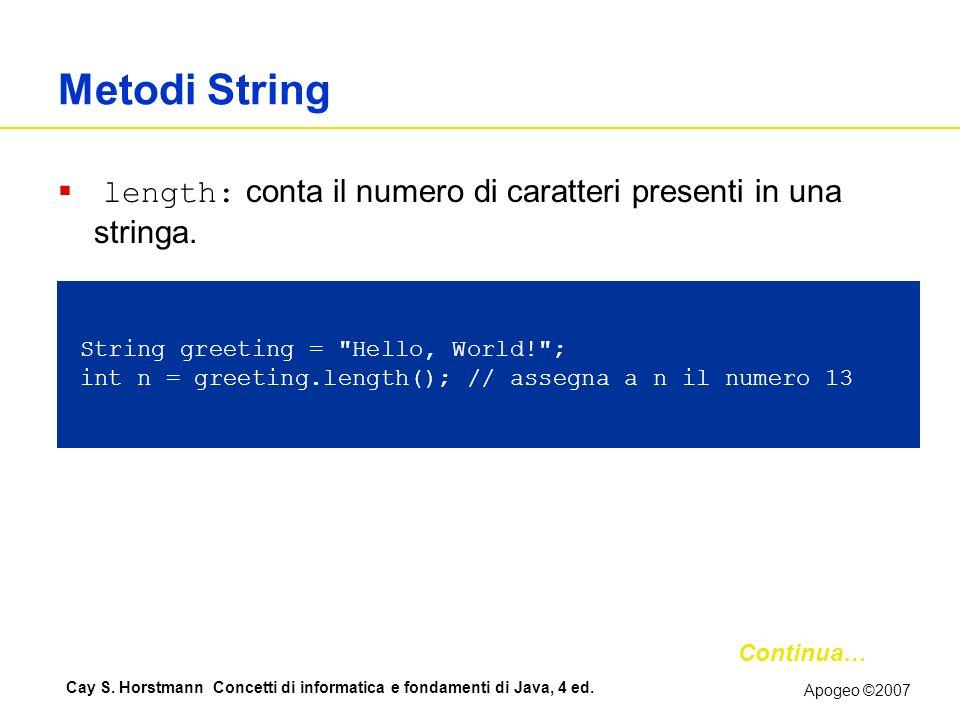 Metodi String length: conta il numero di caratteri presenti in una stringa.