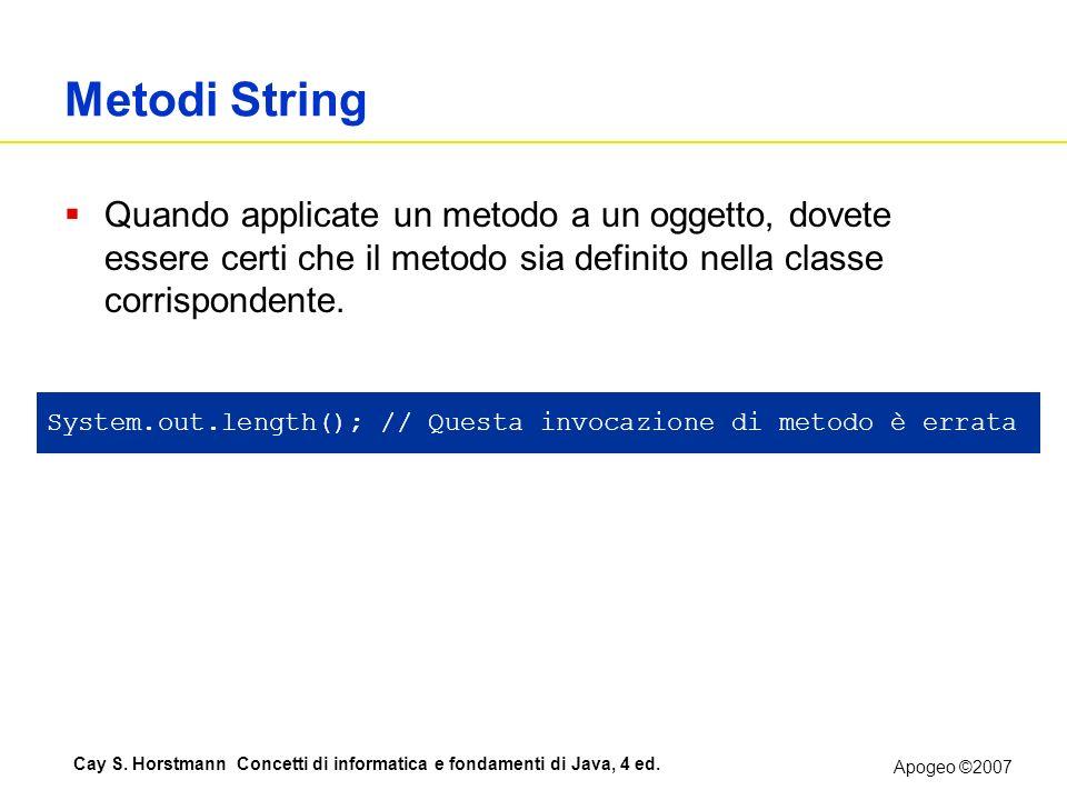 Metodi String Quando applicate un metodo a un oggetto, dovete essere certi che il metodo sia definito nella classe corrispondente.
