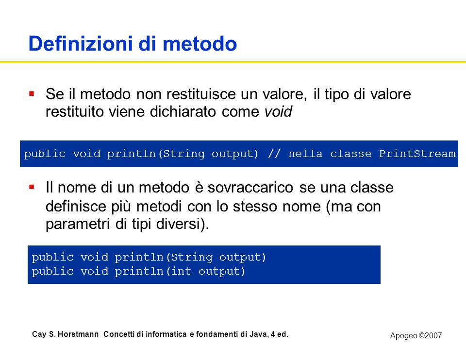 Definizioni di metodo Se il metodo non restituisce un valore, il tipo di valore restituito viene dichiarato come void void.