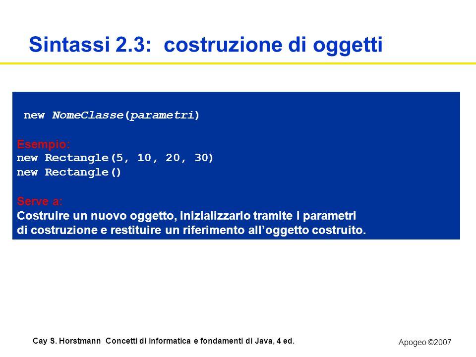 Sintassi 2.3: costruzione di oggetti