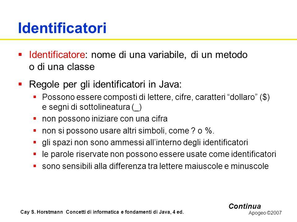 Identificatori Identificatore: nome di una variabile, di un metodo o di una classe. Regole per gli identificatori in Java: