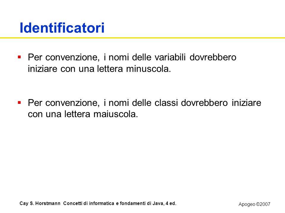 Identificatori Per convenzione, i nomi delle variabili dovrebbero iniziare con una lettera minuscola.