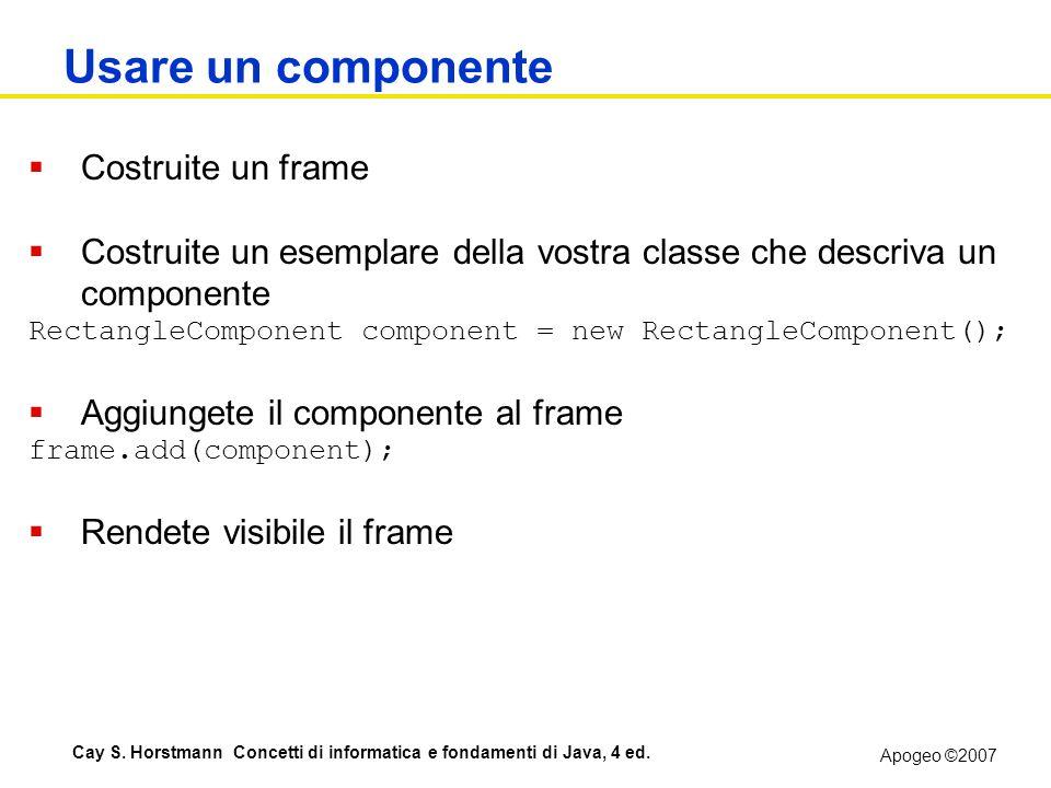Usare un componente Costruite un frame