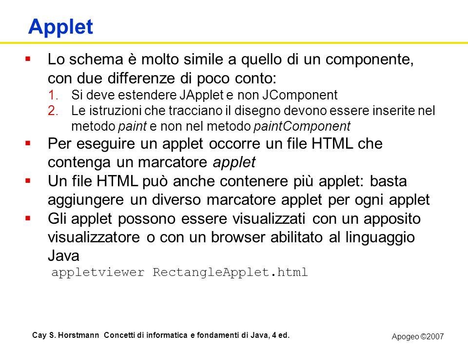 Applet Lo schema è molto simile a quello di un componente, con due differenze di poco conto: Si deve estendere JApplet e non JComponent.