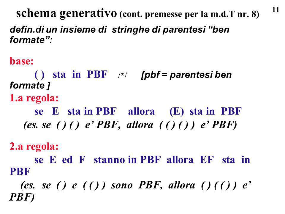schema generativo (cont. premesse per la m.d.T nr. 8)