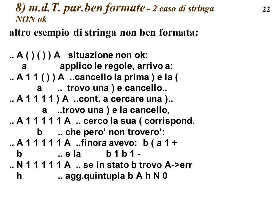 8) m.d.T. par.ben formate - 2 caso di stringa NON ok