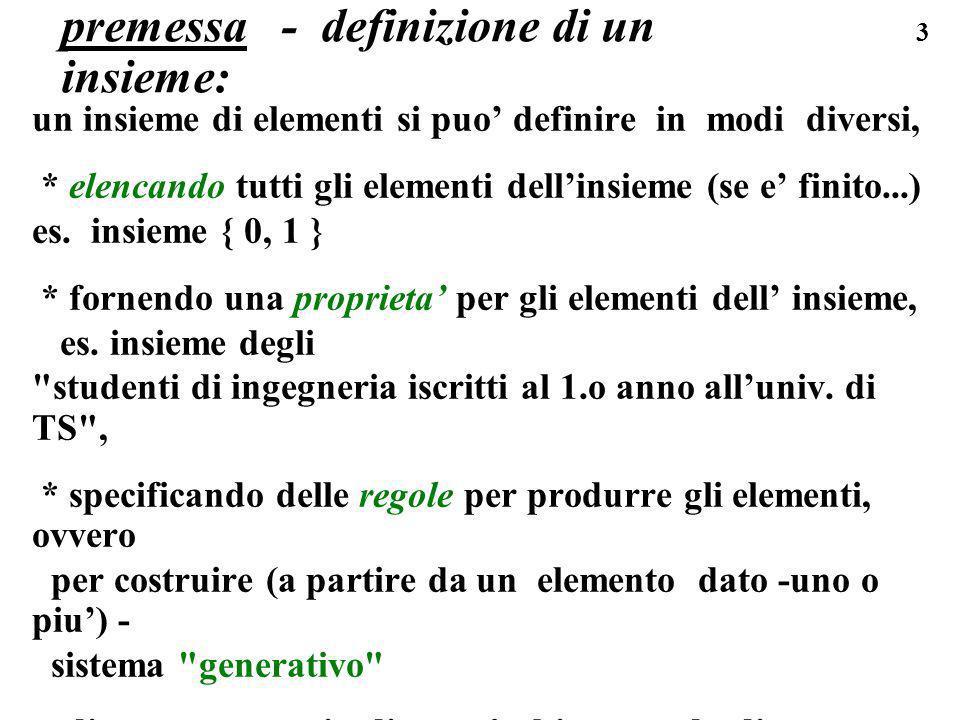premessa - definizione di un insieme: