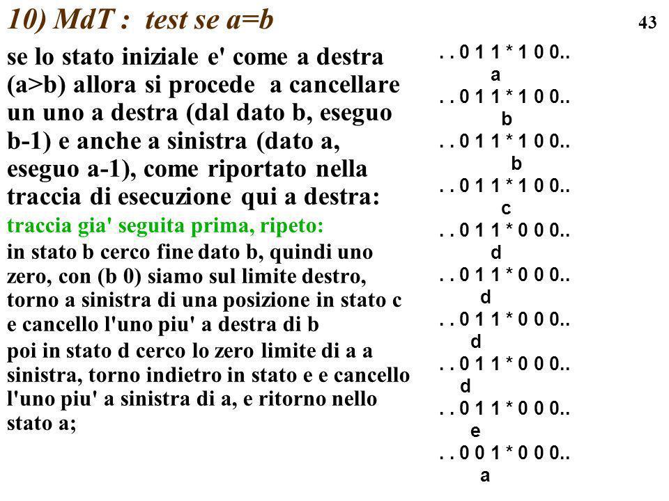 10) MdT : test se a=b