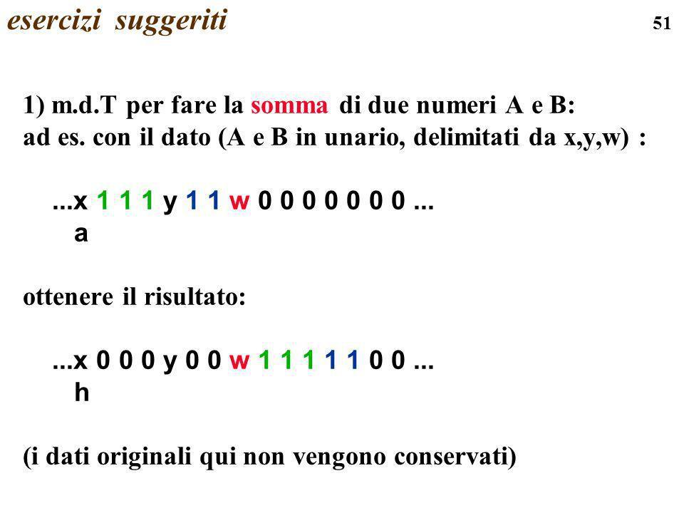 esercizi suggeriti 1) m.d.T per fare la somma di due numeri A e B: