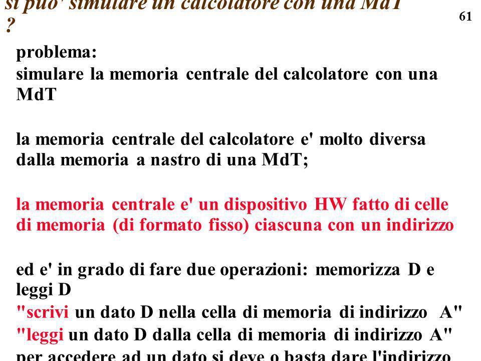 si puo simulare un calcolatore con una MdT