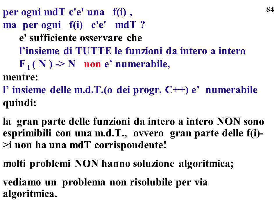 per ogni mdT c e una f(i) , ma per ogni f(i) c e mdT e sufficiente osservare che. l'insieme di TUTTE le funzioni da intero a intero.