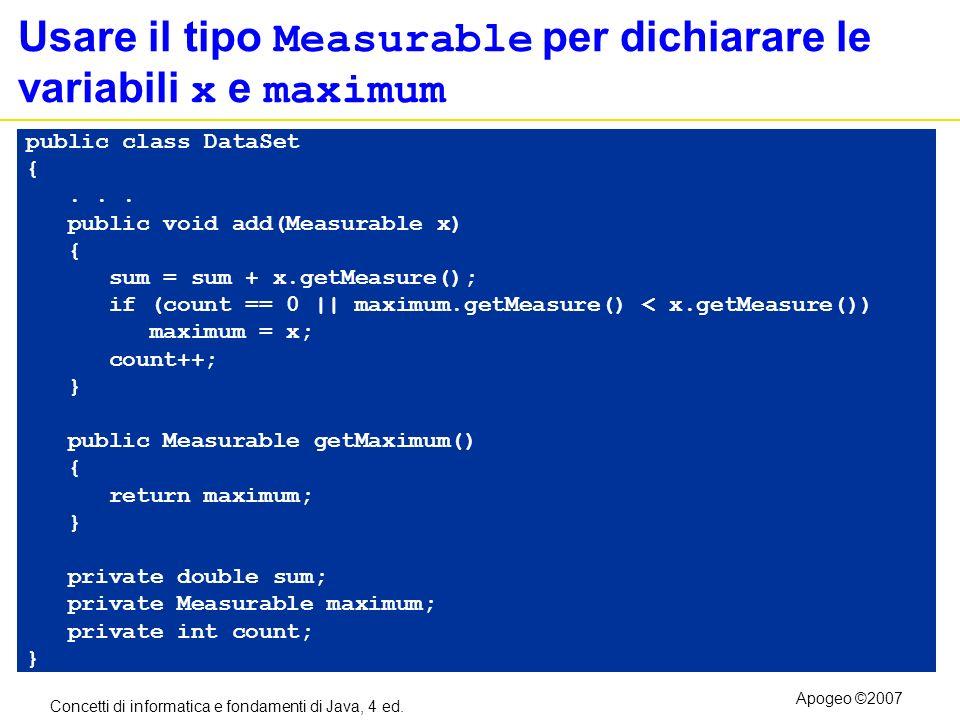 Usare il tipo Measurable per dichiarare le variabili x e maximum