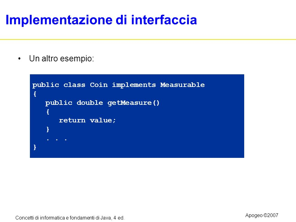 Implementazione di interfaccia
