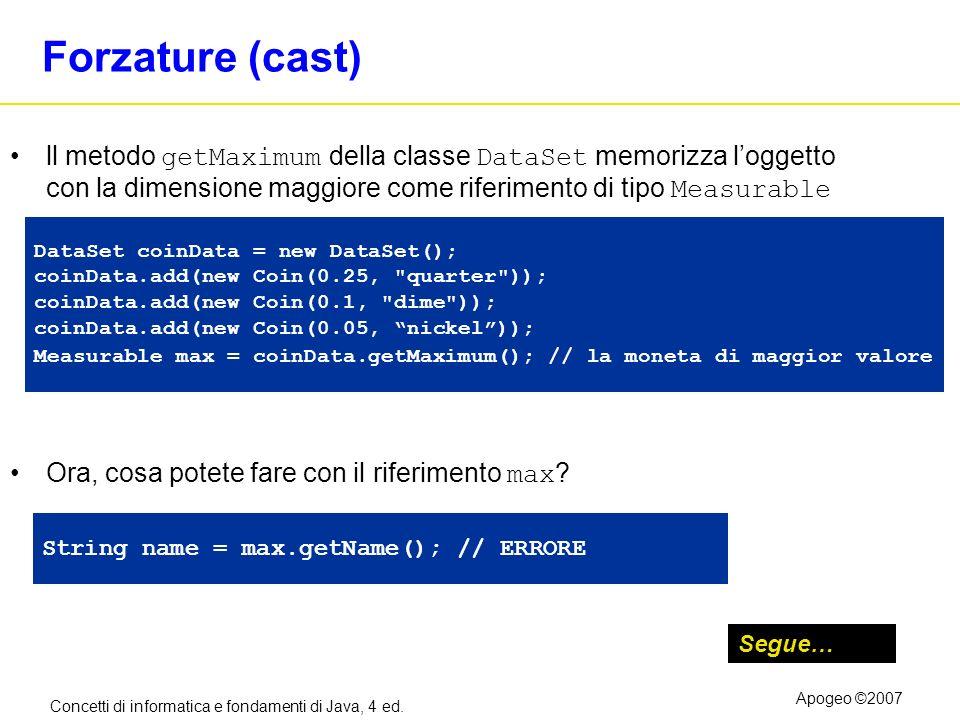 Forzature (cast) ll metodo getMaximum della classe DataSet memorizza l'oggetto con la dimensione maggiore come riferimento di tipo Measurable.