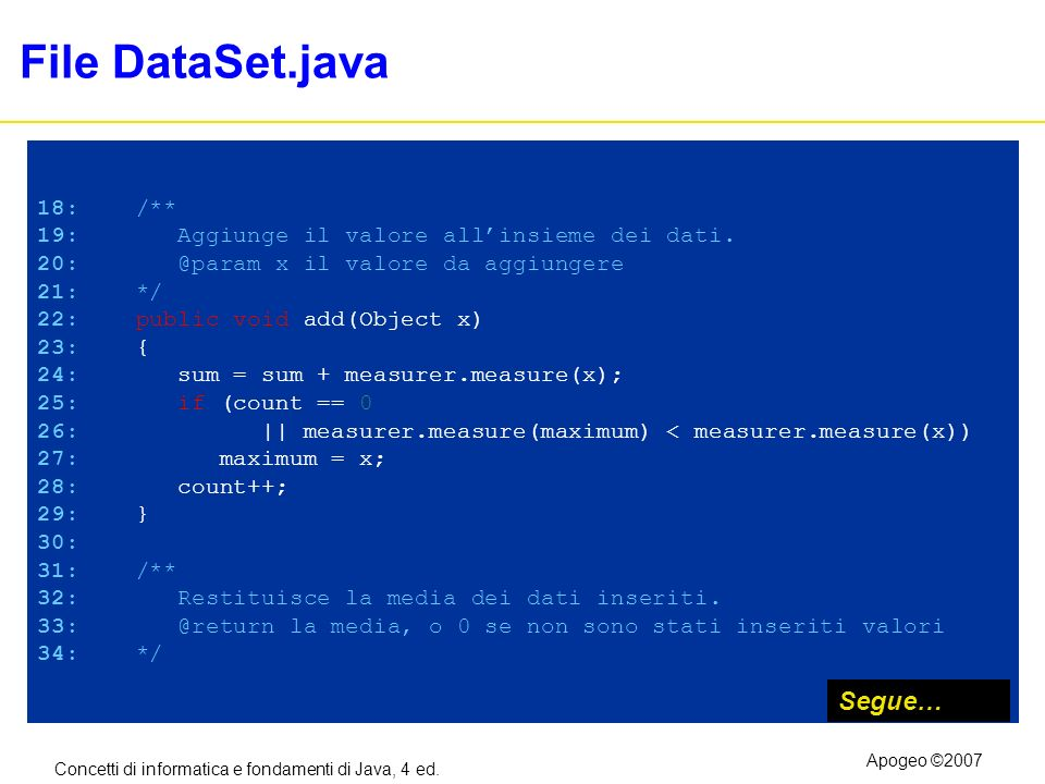 File DataSet.java Segue… 18: /**