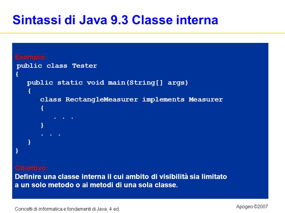 Sintassi di Java 9.3 Classe interna