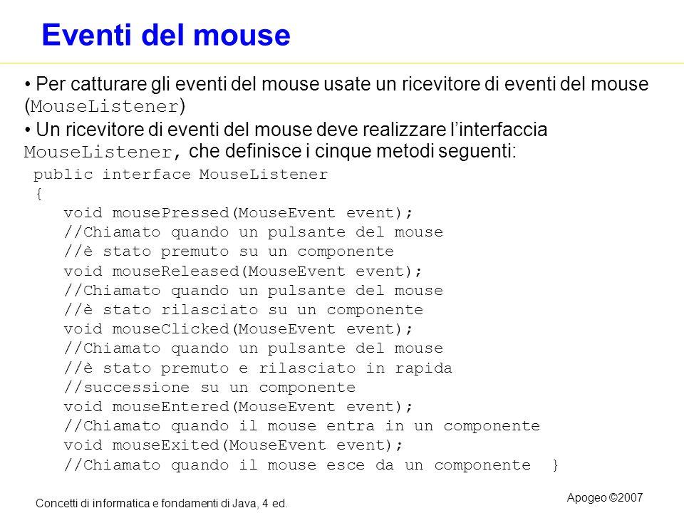 Eventi del mouse Per catturare gli eventi del mouse usate un ricevitore di eventi del mouse (MouseListener)