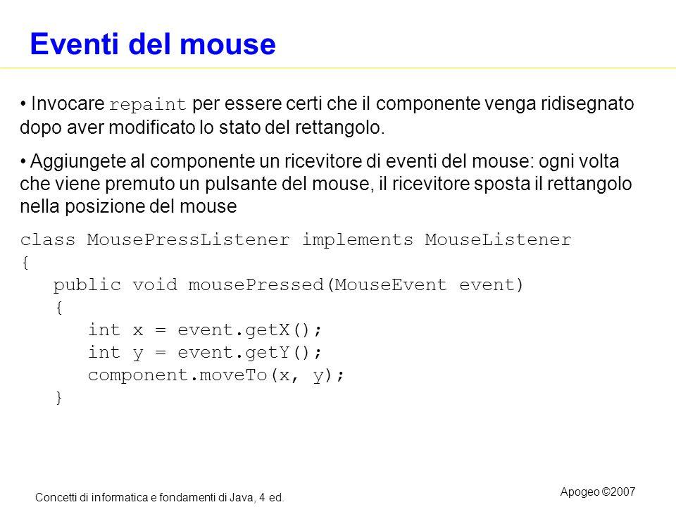 Eventi del mouse Invocare repaint per essere certi che il componente venga ridisegnato dopo aver modificato lo stato del rettangolo.