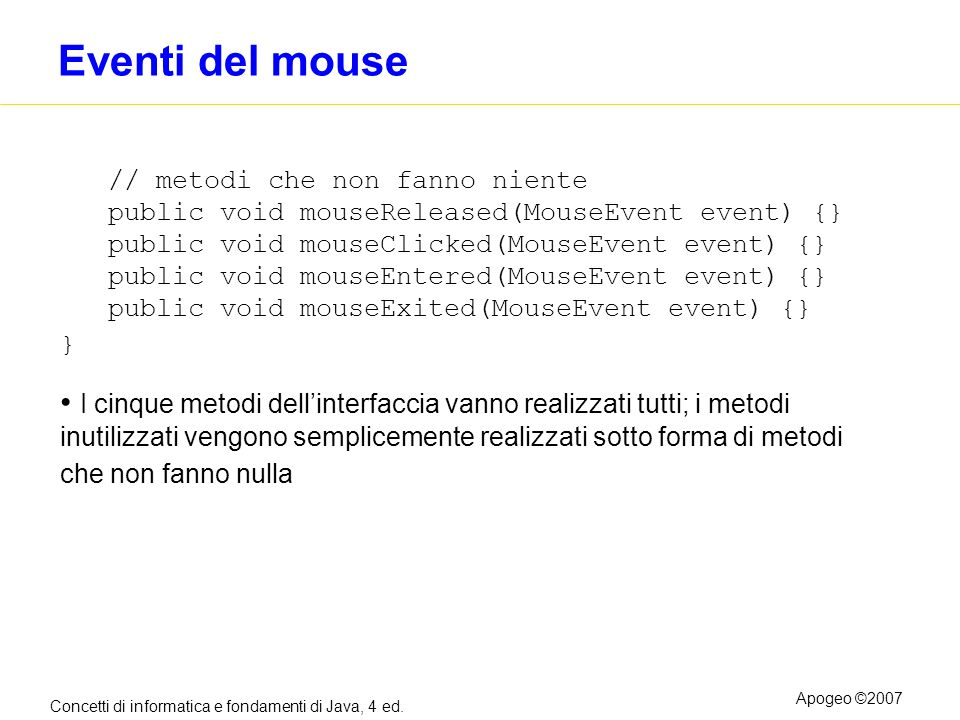 Eventi del mouse