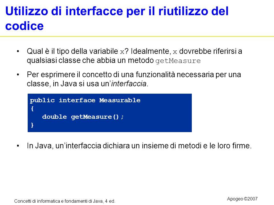 Utilizzo di interfacce per il riutilizzo del codice