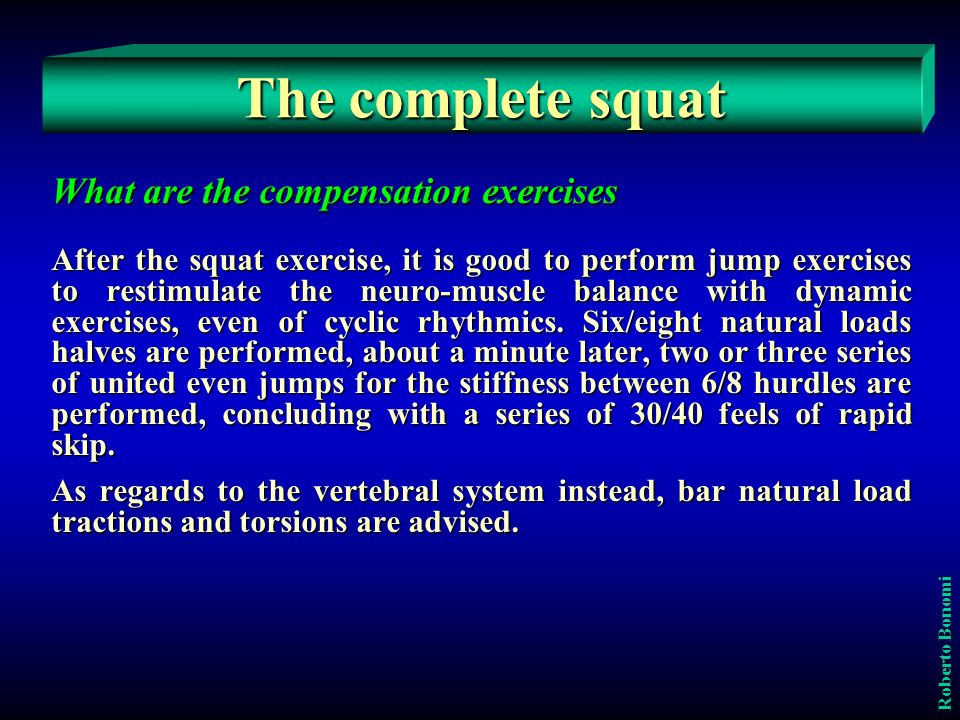 The complete squat What are the compensation exercises