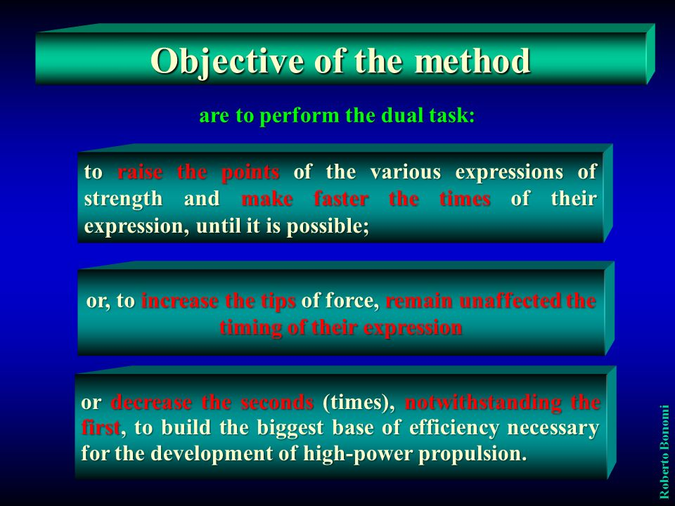 Objective of the method are to perform the dual task:
