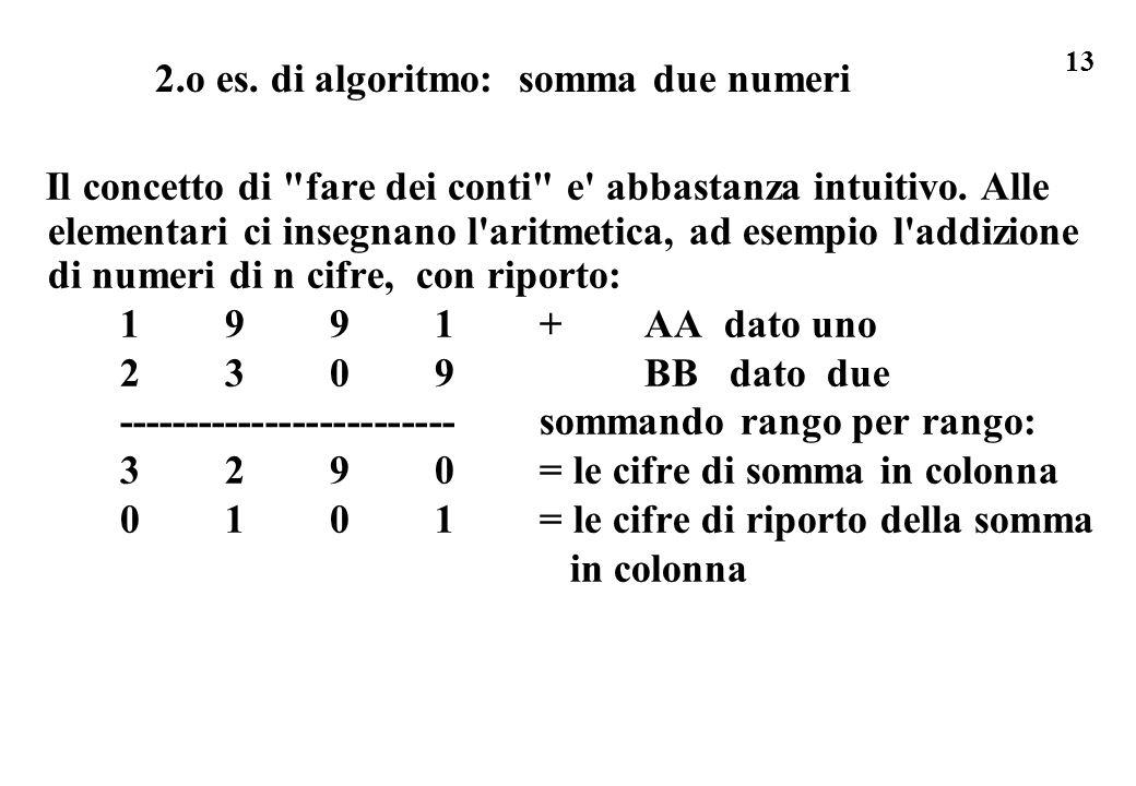 2.o es. di algoritmo: somma due numeri