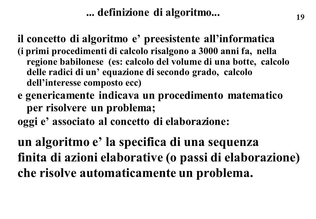 ... definizione di algoritmo...