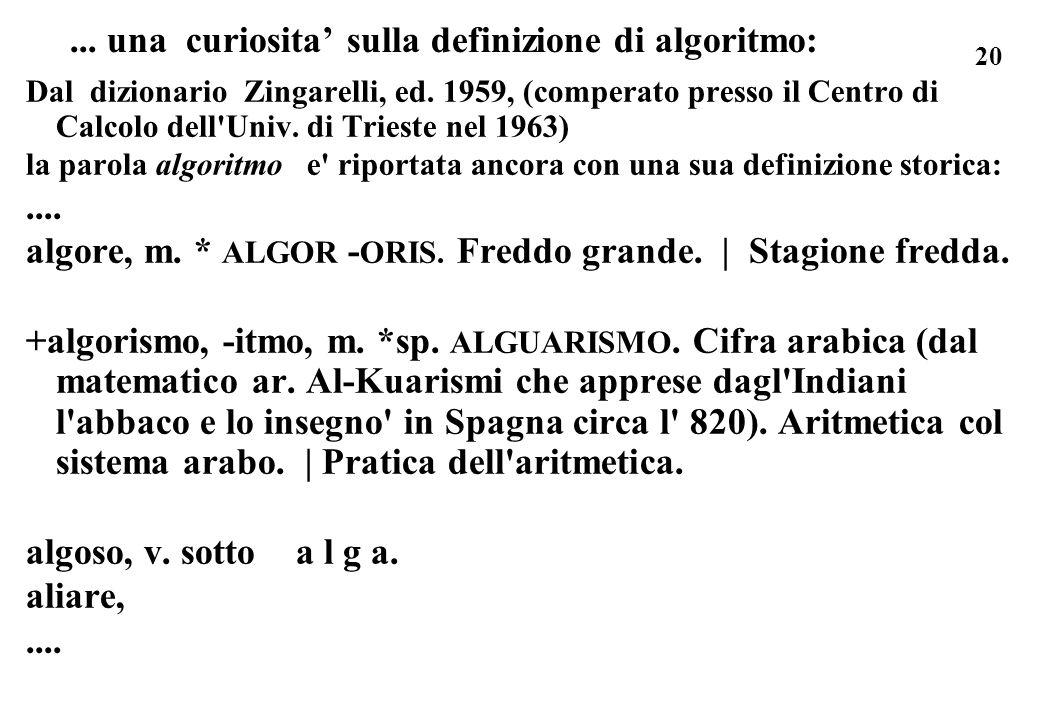 ... una curiosita' sulla definizione di algoritmo: