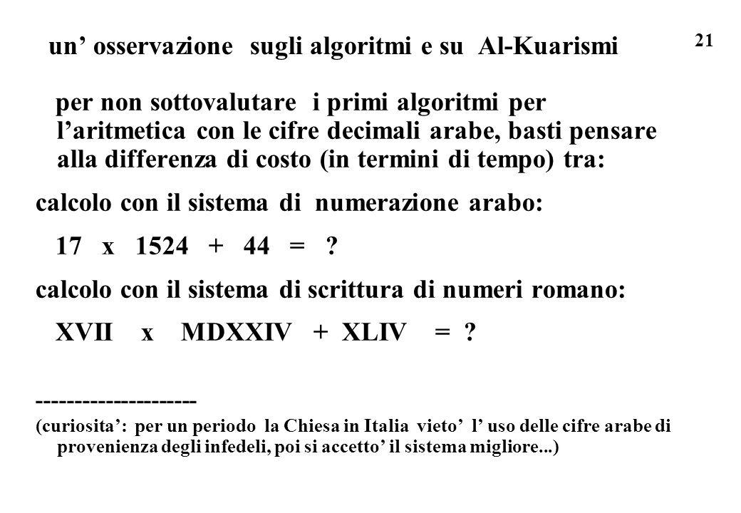 un' osservazione sugli algoritmi e su Al-Kuarismi