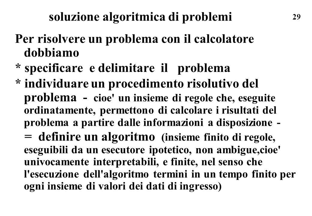 soluzione algoritmica di problemi