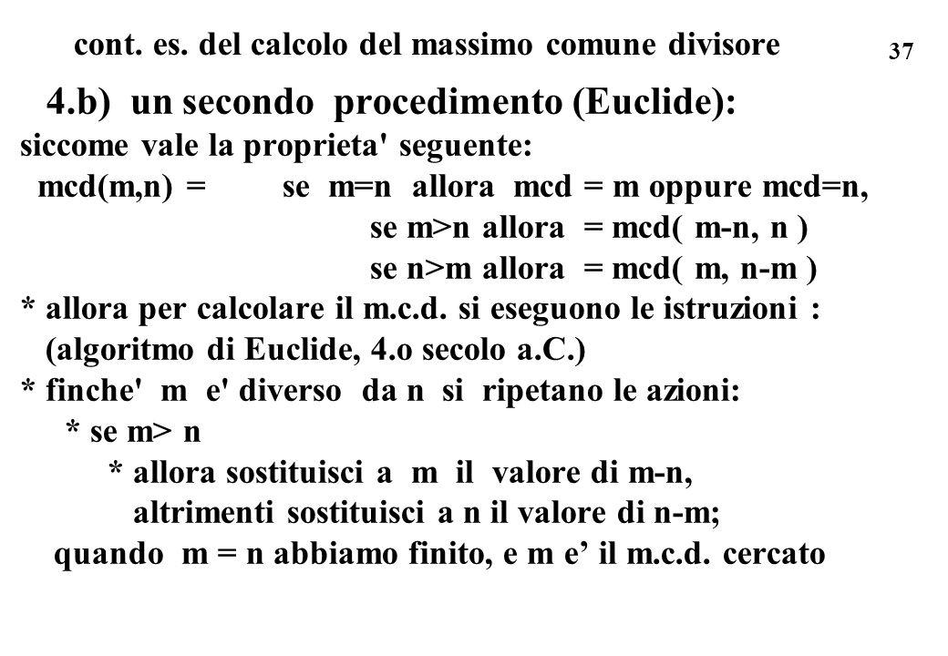 cont. es. del calcolo del massimo comune divisore