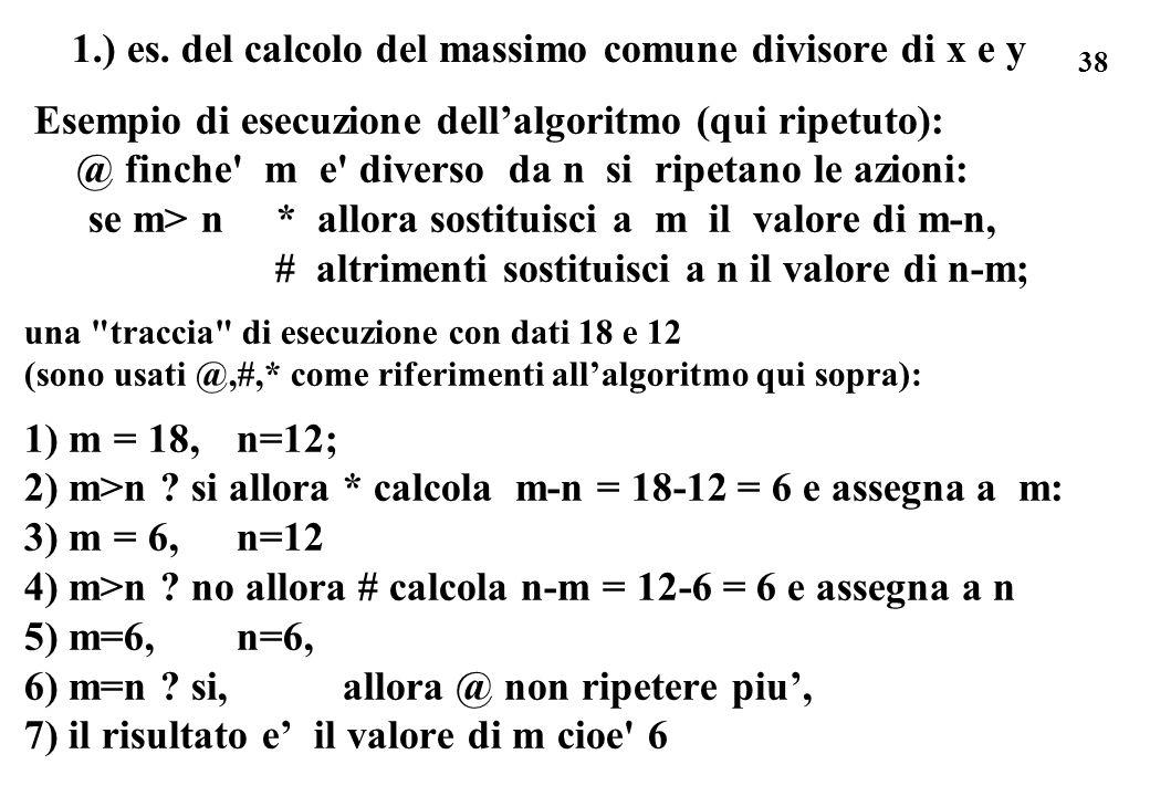 1.) es. del calcolo del massimo comune divisore di x e y