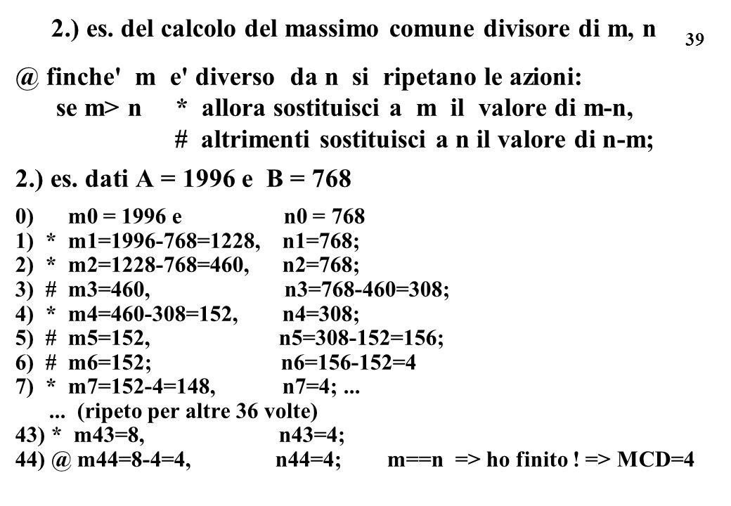 2.) es. del calcolo del massimo comune divisore di m, n