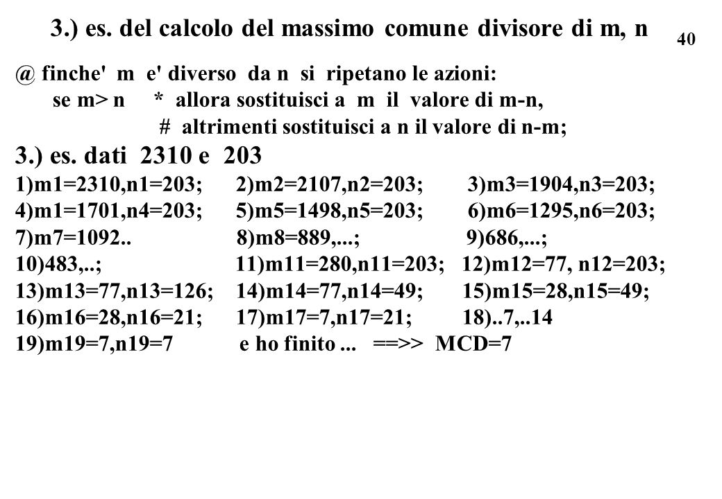 3.) es. del calcolo del massimo comune divisore di m, n