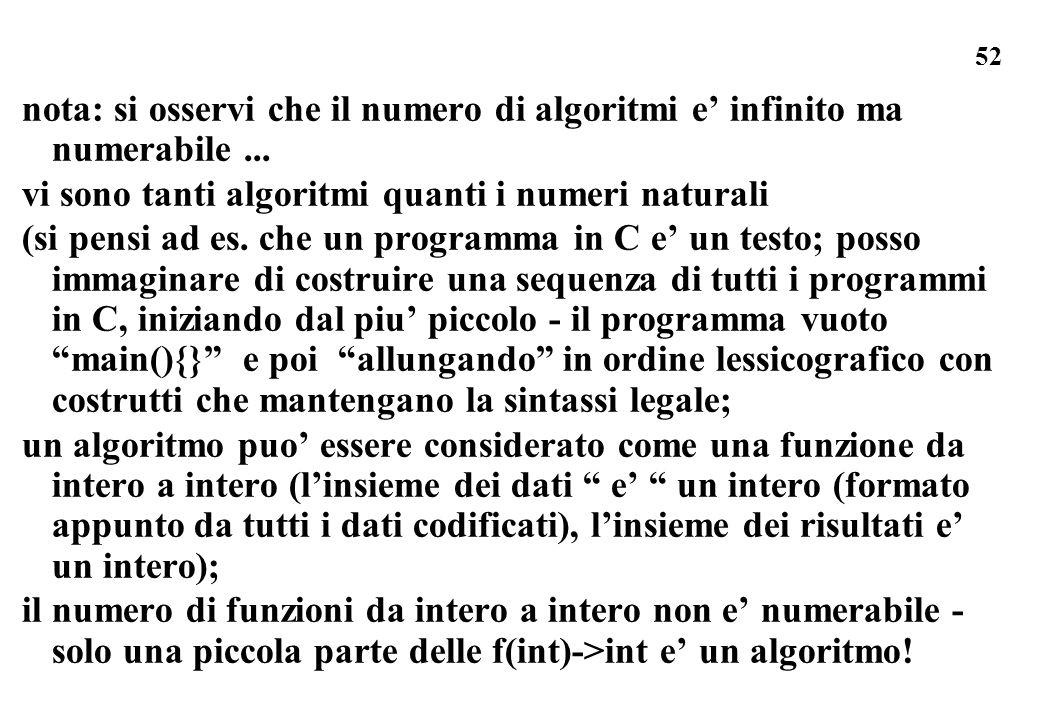 nota: si osservi che il numero di algoritmi e' infinito ma numerabile ...