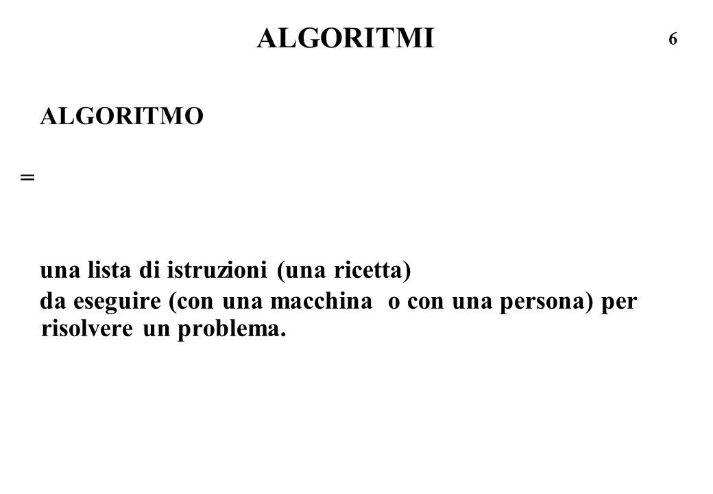ALGORITMI ALGORITMO = una lista di istruzioni (una ricetta)